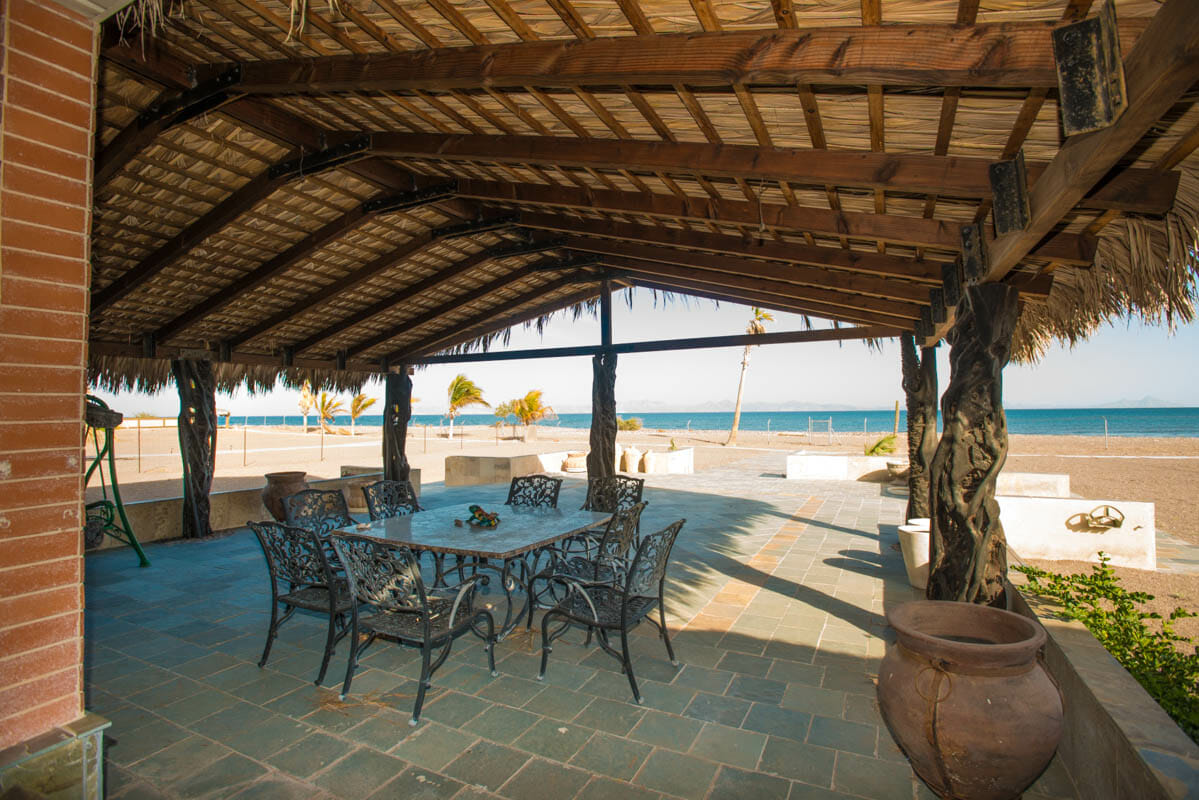 84 Davis St Mil Palmas El Bajo Loreto, Baja Sur Beachfront House in Loreto Baja Sur Palapa covered terrace