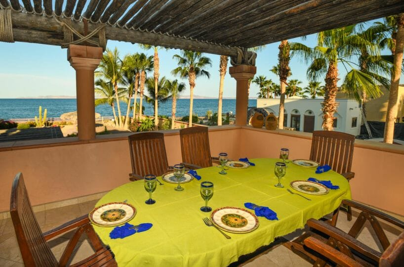 Beachfront Home on large lot in Loreto Baja Sur upstairs dinning terrace