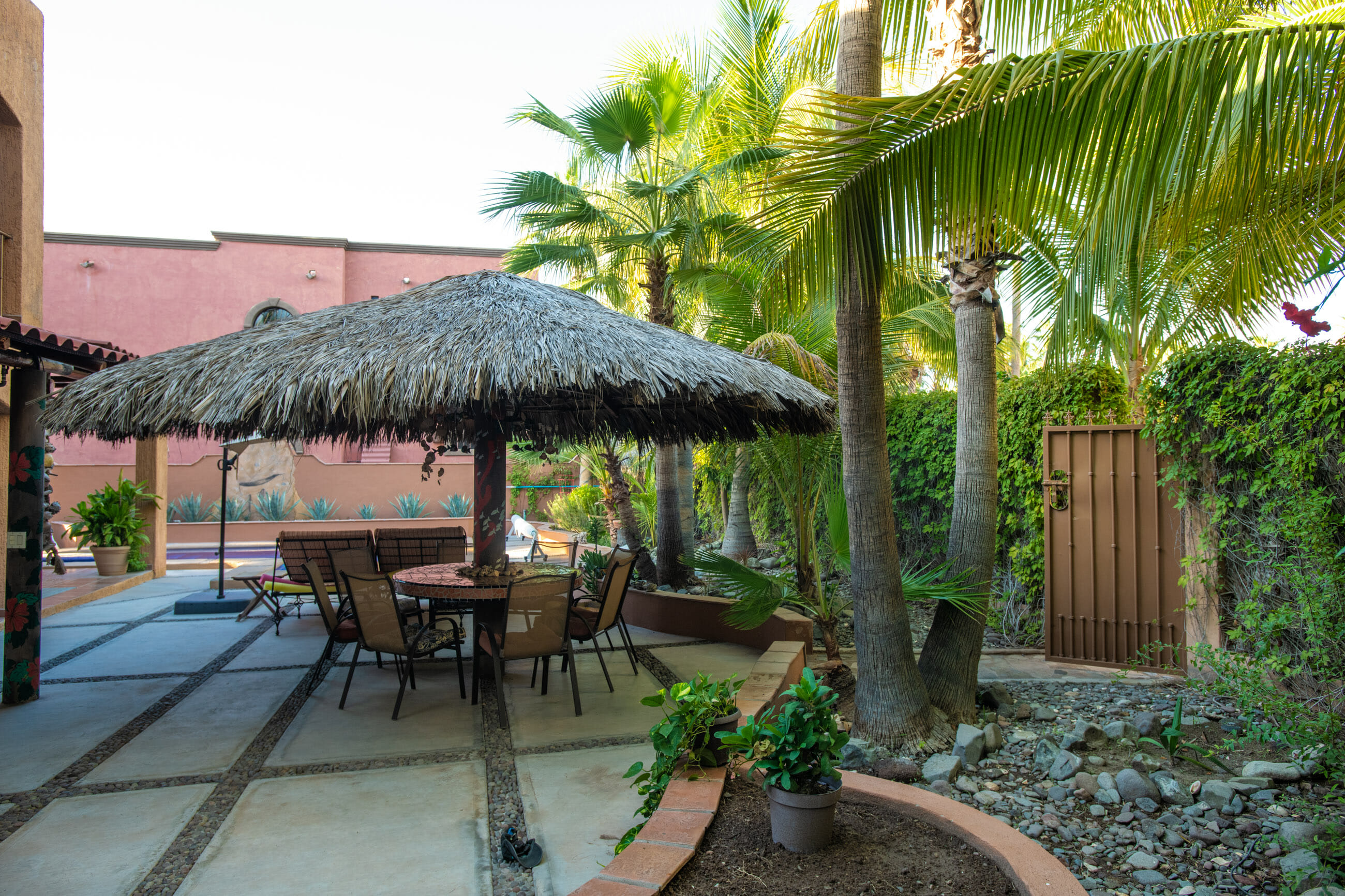 288 Davis St Loreto, Baja California Sur Mexico: Palapa and table poolside