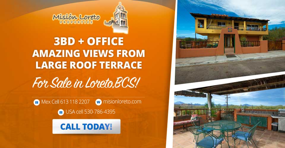Three Bedroom Office With Amazing Sea Views. Amazing Sea Views From Large Roof Terrace. Mision Loreto Properties